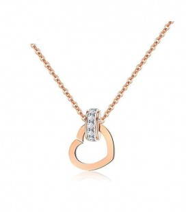 Titánium szív medál nyakláncon, rozé arany bevonattal