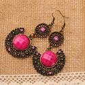 bizsu fülbevaló Rózaszín legyező, vintage fülbevaló