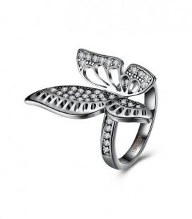 Fekete pillangó kristályos gyűrű