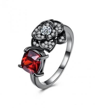 Fekete virág, rubinpiros kővel díszített gyűrű