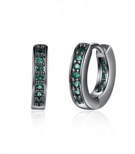 Fekete karika fülbevaló smaragdzöld kristályokkal