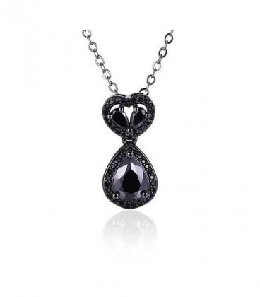 Különleges, fekete bevonatú kristályos medál, nyakláncon
