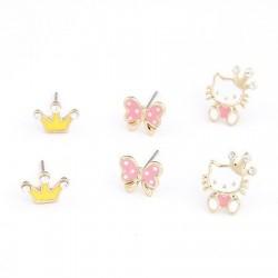 bizsu fülbevaló Hello Kitty variálható fülbevaló (3 pár)