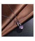 Fekete bevonatú csepp medál+nyaklánc, lila kristállyal