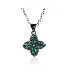 Fekete bevonatú virág medál nyaklánccal, smaragdzöld kristállyal