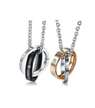 Romantikus páros gyűrű medál nemesacélból, nyaklánccal - Eternal Love