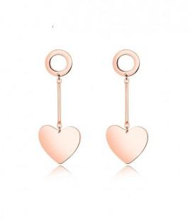 Szív és kör titánium fülbevaló rozé arany bevonattal