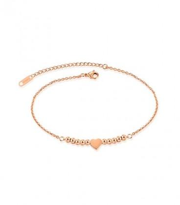 Szív és gyöngyök titánium bokalánc - rozé arany