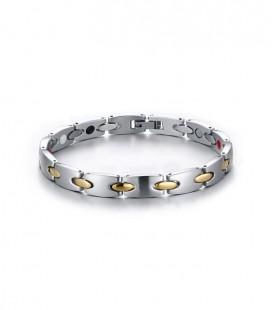 Mágneses nemesacél karkötő - arany-ezüst