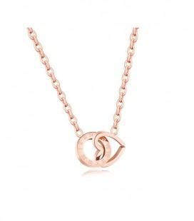 Összefonódó szív és kör nemesacél nyaklánc, rozé arany bevonattal