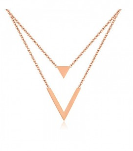 Háromszögek dupla soros titánium nyaklánc, rozé arany bevonattal