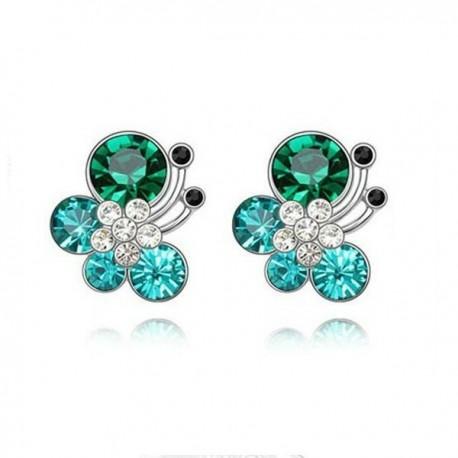 kristályos fülbevaló Türkiz kristályos pillangó fülbevaló