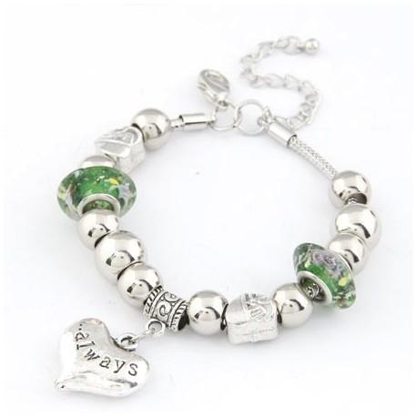 bizsu karkötő Pandora stílusú charm karkötő- zöld