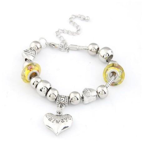 bizsu karkötő Pandora stílusú charm karkötő - sárga