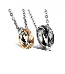 Páros Nyaklánc Szerelmeseknek - Karikagyűrű Pár Vésett mintával