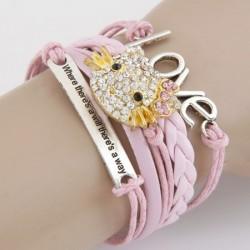 bizsu karkötő Rózsaszín fonott karkötő - Hello Kitty