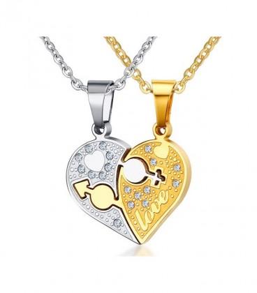 Összeilleszthető - törhető közös szív medál - Pároknak & szerelmeseknek