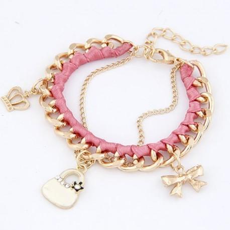 bizsu karkötő Rózsaszín retikül charm karkötő