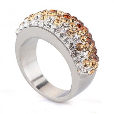 nemesacél gyűrű Arany-fehér kristályos nemesacél gyűrű
