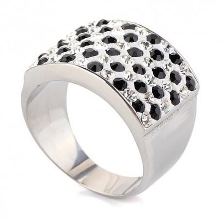 nemesacél gyűrű Fekete-fehér kristályos nemesacél gyűrű