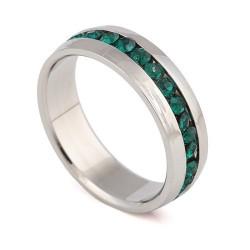 nemesacél gyűrű Zöld kristályos nemesacél gyűrű