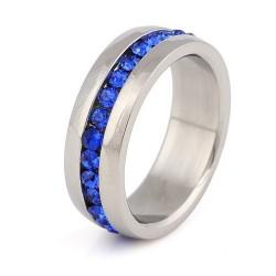 Sötétkék kristályos nemesacél gyűrű