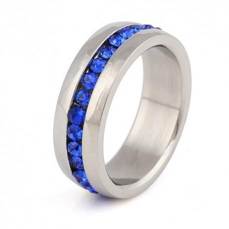nemesacél gyűrű Sötétkék kristályos nemesacél gyűrű