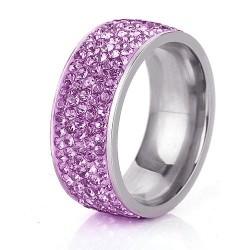 Lila kristályos, 5 soros nemesacél gyűrű