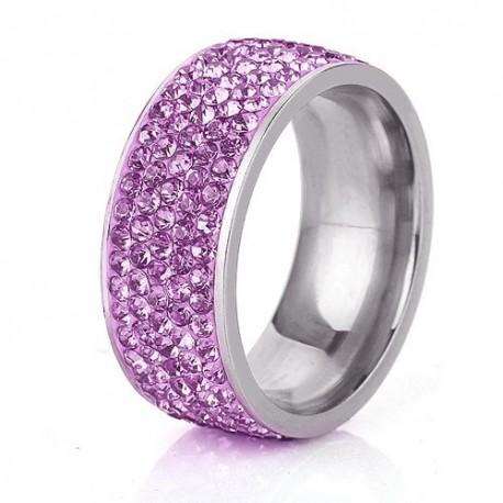 nemesacél gyűrű Lila kristályos, 5 soros nemesacél gyűrű