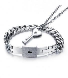 Acél Páros karkötő és nyaklánc szett - Kulcs a szívedhez - Rabod vagyok