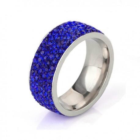 nemesacél gyűrű Sötétkék kristályos, 5 soros nemesacél gyűrű