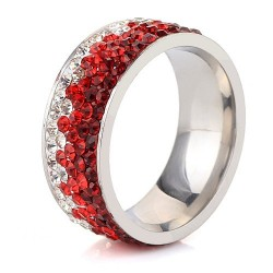 nemesacél gyűrű Piros kristályos, színátmenetes nemesacél gyűrű