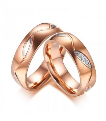 Prémium női karikagyűrű kristályokkal, nemesacélból - rozé arany