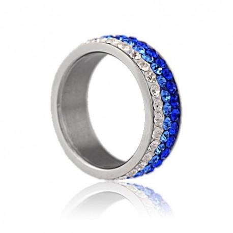 nemesacél gyűrű Kék kristályos, színátmenetes nemesacél gyűrű