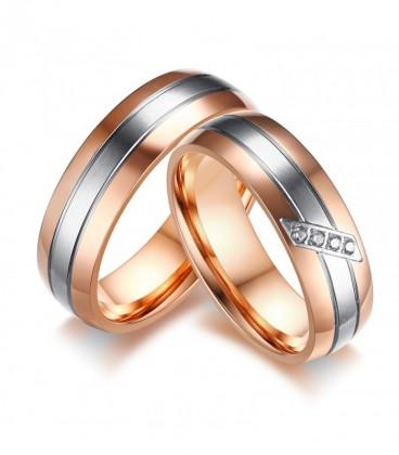 3 sávos, nemesacél férfi karikagyűrű rozé arany bevonattal