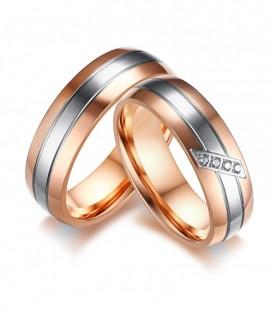 3 sávos, nemesacél női karikagyűrű rozé arany bevonattal