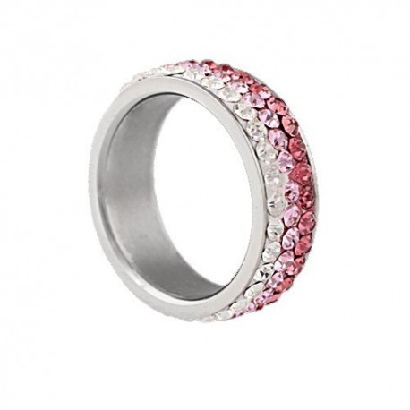 nemesacél gyűrű Rózsaszín kristályos, színátmenetes nemesacél