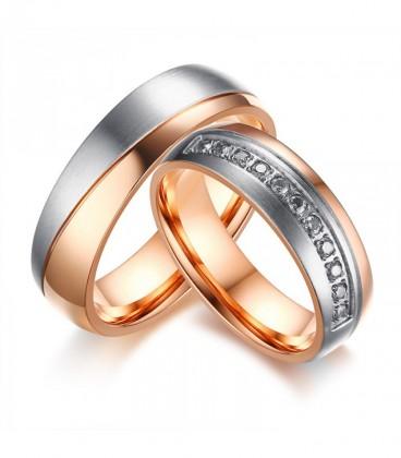 Kéttónusú prémium női karikagyűrű nemesacélból - rozé arany