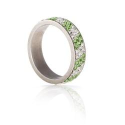 nemesacél gyűrű Zöld-fehér kristályos nemesacél gyűrű