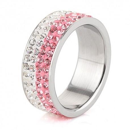 nemesacél gyűrű Rózsaszín-fehér kristályos, 4 soros nemesacél