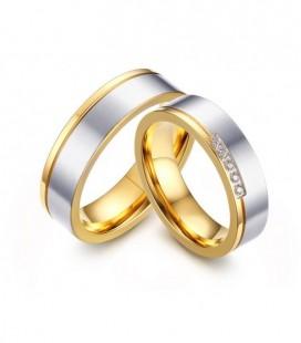 Kéttónusú, kristály sávos női nemesacél karikagyűrű