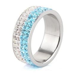 Kék-fehér kristályos, 4 soros nemesacél gyűrű