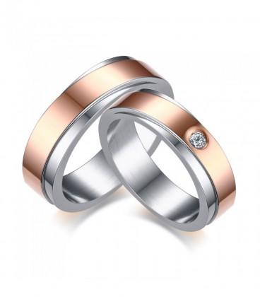 Rozé arany sávos férfi nemesacél karikagyűrű
