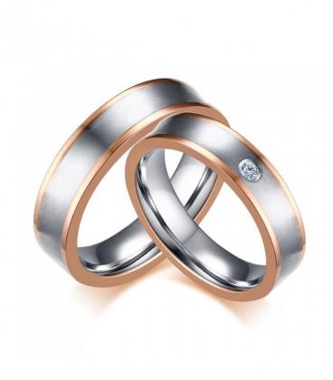 Rozé arany dupla sávos női nemesacél karikagyűrű