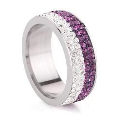 Lila-fehér kristályos, 4 soros nemesacél gyűrű