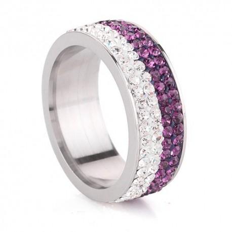 nemesacél gyűrű Lila-fehér kristályos, 4 soros nemesacél gyűrű