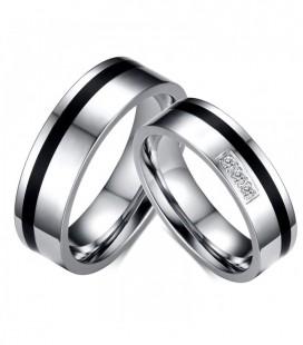 Fekete sávos, férfi nemesacél karikagyűrű