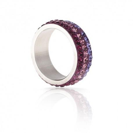 nemesacél gyűrű Lila kristályos, színátmenetes nemesacél gyűrű