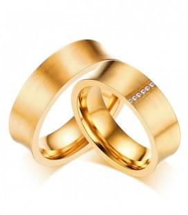 Kristályos, aranyozott férfi nemesacél karikagyűrű