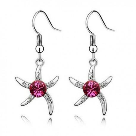 kristályos fülbevaló Rózsaszín kristályos tengeri csillag